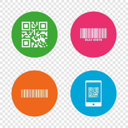 Bar and Qr code icons. Scan barcode in smartphone symbols. Round buttons on transparent background. Vector