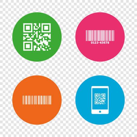 Bar- en Qr-codepictogrammen. Scan barcode in smartphonesymbolen. Ronde knoppen op transparante achtergrond. Vector