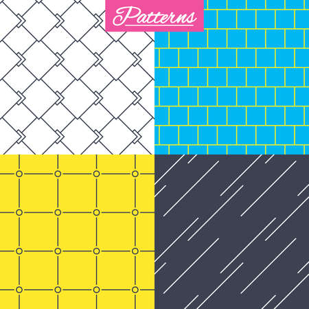 Mosaic, diagonal lines and grid with circles seamless textures. Linear geometric ornament patterns. Modern textures. Abstract patterns with colored background. Vector Illustration