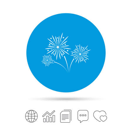 Fireworks sign icon. Explosive pyrotechnic show symbol. Copy files, chat speech bubble and chart web icons. Vector