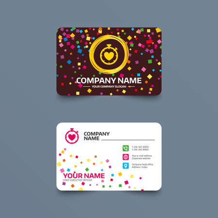 Business card template with confetti pieces. Heart Timer sign icon. Stopwatch symbol. Heartbeat palpitation. Phone, web and location icons. Visiting card  Vector Ilustração