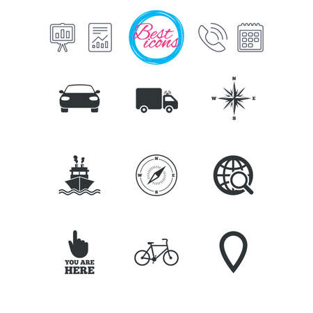 Presentation, report and calendar signs. Navigation, gps icons. Windrose, compass and map pointer signs. Bicycle, ship and car symbols. Classic simple flat web icons. Vector