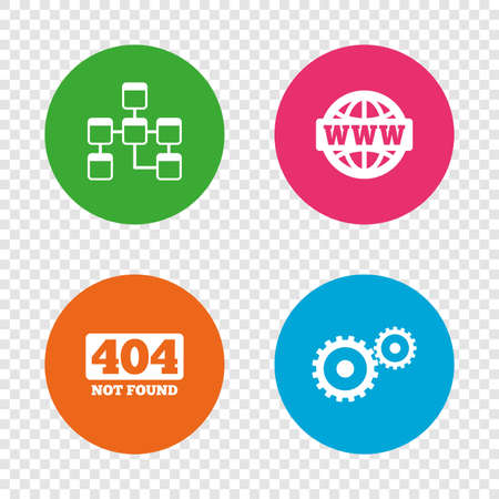 Website database icon. Internet globe and gear signs. 404 page not found symbol. Under construction. Round buttons on transparent background. Vector Illustration