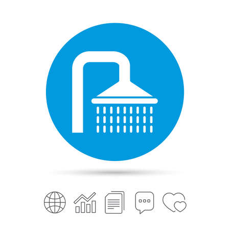 washstand: Shower sign icon. Douche with water drops symbol. Copy files, chat speech bubble and chart web icons. Vector