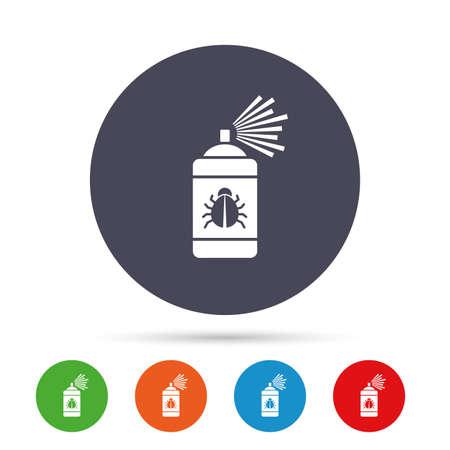 Icône de signe de désinfection de bogue. Symbole de fumigation Pulvérisateur d'insectes. Boutons colorés ronds avec des icônes plats. Vecteur Banque d'images - 77843875
