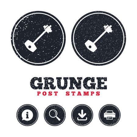 Grunge post stamps. Key sign icon. Unlock tool symbol. Information, download and printer signs. Aged texture web buttons. Vector Stock Vector - 77843881