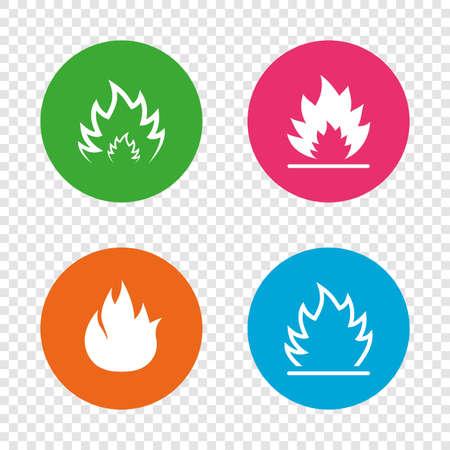 Fuoco fiamme icone. segni di prelievo simboli infiammabili rotondi segni su sfondo trasparente. vettore Archivio Fotografico - 77843890