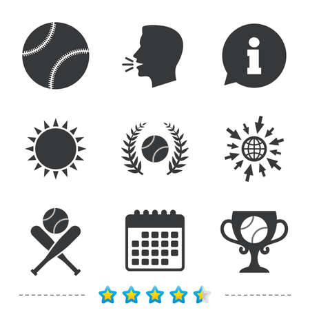 Baseball sport icons. Ball with glove and two crosswise bats signs. Winner award cup symbol. Information, go to web and calendar icons. Sun and loud speak symbol. Vector