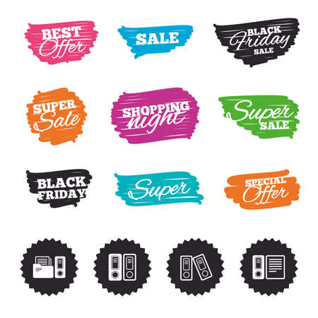 Ink brush sale banners and stripes. Accounting icons. Document storage in folders sign symbols. Special offer. Ink stroke. Vector