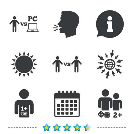 Gamer icons. Board and PC games players signs. Player vs PC symbol. Information, go to web and calendar icons. Sun and loud speak symbol. Vector