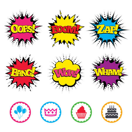 Comic Wow, Oops, Boom and Wham sound effects. Birthday crown party icons. Cake and cupcake signs. Air balloons with rope symbol. Zap speech bubbles in pop art. Vector Illustration