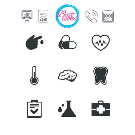 Presentation, report and calendar signs. Medicine, healthcare and diagnosis icons. Tooth, pills and doctor case signs. Neurology, blood test symbols. Classic simple flat web icons. Vector Ilustrace