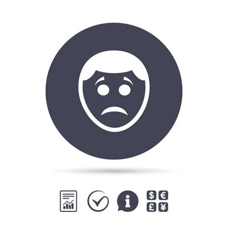 Sad face sign icon. Sadness depression chat symbol. Report document, information and check tick icons. Currency exchange. Vector Illusztráció