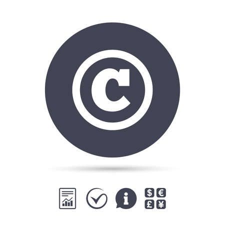 Copyright sign icon. Copyright button. Report document, information and check tick icons. Currency exchange. Vector