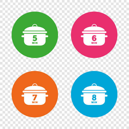 Cooking pan icons. Boil 5, 6, 7 and 8 minutes signs. Stew food symbol. Round buttons on transparent background. Vector Illustration