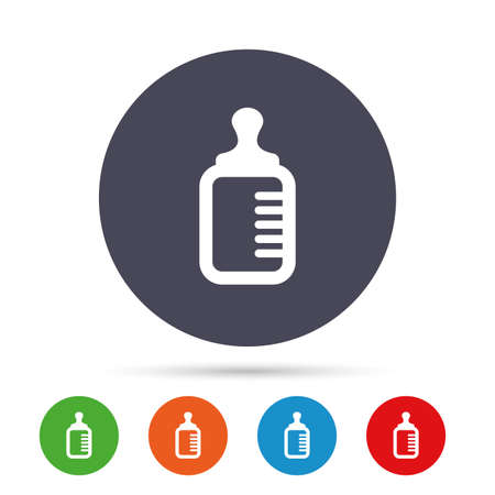 Baby milk bottle icon. Child food symbol. Round colourful buttons with flat icons. Vector 向量圖像