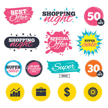 Sale shopping banners. Special offer splash. Business icons. Graph chart and case signs. Dollar currency and gear cogwheel symbols. Web badges and stickers. Best offer. Vector Иллюстрация
