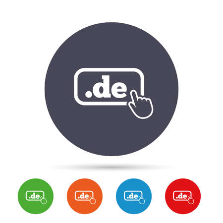 Domain DE sign icon. Top-level internet domain symbol with hand pointer. Round colourful buttons with flat icons. Vector Ilustração