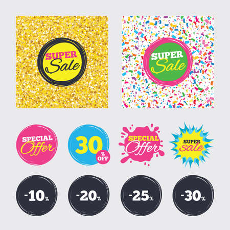 Gold glitter and confetti backgrounds. Covers, posters and flyers design. Sale discount icons. Special offer price signs. 10, 20, 25 and 30 percent off reduction symbols. Sale banners. Vector