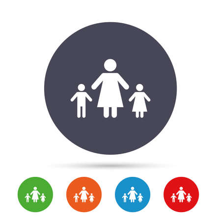 One-parent family with two children sign icon. Mother with son and daughter symbol. Round colourful buttons with flat icons. Vector Illustration