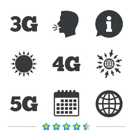 Mobile telecommunications icons. 3G, 4G and 5G technology symbols. World globe sign. Information, go to web and calendar icons. Sun and loud speak symbol. Vector