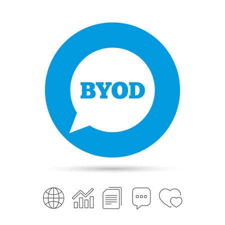 BYOD 記号アイコン。独自のデバイスのシンボルをもたらします。音声バブルのサイン。ファイルのコピー、音声バブルとグラフ web アイコンをチャッ