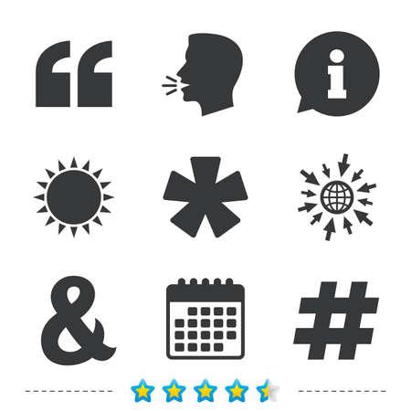 引用、脚注アイコンをアスタリスクします。ハッシュタグ ソーシャル メディア、アンパサンド記号。プログラミング論理演算子と記号です。につい