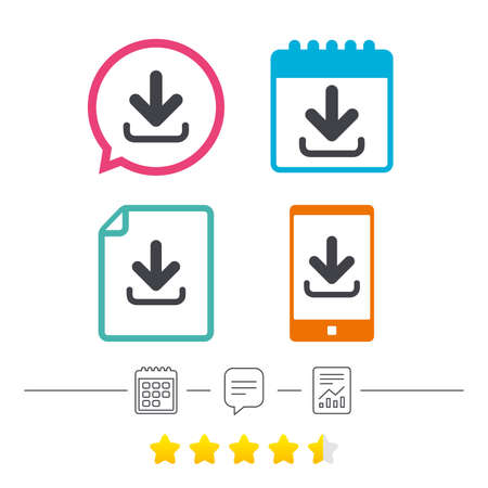 Download icon. Upload button. Load symbol. Calendar, chat speech bubble and report linear icons. Star vote ranking. Vector