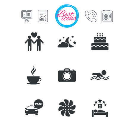 Presentation, report and calendar signs. Hotel, apartment service icons. Swimming pool. Ventilation, birthday party and gay-friendly symbols. Classic simple flat web icons. Vector