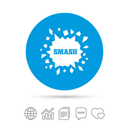 Cracked hole icon. Smash or break symbol. Copy files, chat speech bubble and chart web icons. Vector Illustration