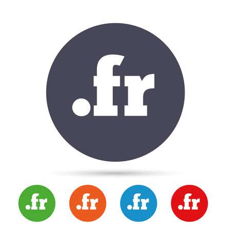 ドメイン FR 記号アイコン。最上位のインターネット ドメイン シンボル。フラットなアイコンでカラフルなボタンを丸く。ベクトル