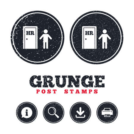 Grunge post stamps. Human resources sign icon. HR symbol. Workforce of business organization. Man at the door. Information, download and printer signs. Aged texture web buttons. Vector