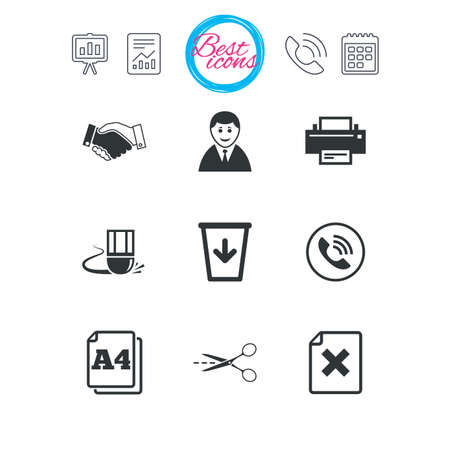 Presentation, report and calendar signs. Office, documents and business icons. Printer, handshake and phone signs. Boss, recycle bin and eraser symbols. Classic simple flat web icons. Vector Illustration
