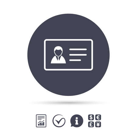 ID card sign icon. Identity card badge symbol. Report document, information and check tick icons. Currency exchange. Vector