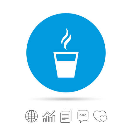 Coffee glass sign icon. Hot coffee button. Hot tea drink with steam. Takeaway. Copy files, chat speech bubble and chart web icons. Vector Ilustrace