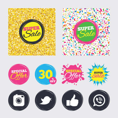 vintage telephone: Gold glitter and confetti backgrounds. Covers, posters and flyers design. Hipster photo camera icon. Like and Call speech bubble sign. Bird symbol. Social media icons. Sale banners. Vector Illustration