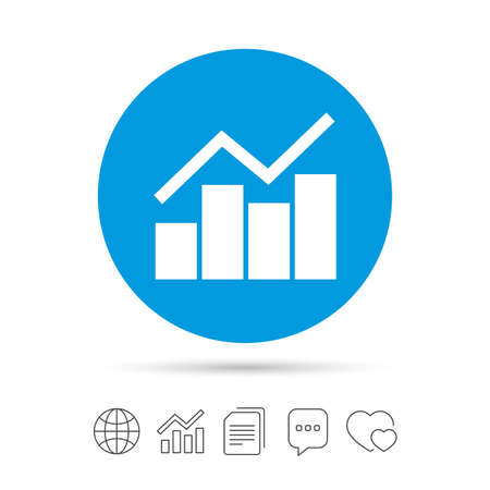 Graph chart sign icon. Diagram symbol. Statistics. Copy files, chat speech bubble and chart web icons. Vector Ilustração