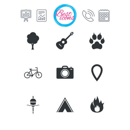 Presentation, report and calendar signs. Tourism, camping icons. Fishing, fire and bike signs. Guitar music, photo camera and paw with clutches. Classic simple flat web icons. Vector Иллюстрация