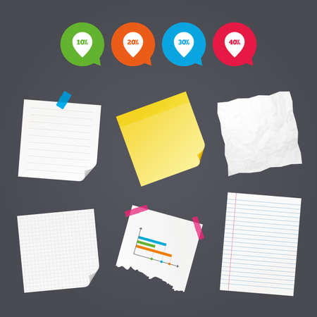40: Business paper banners with notes. Sale pointer tag icons. Discount special offer symbols. 10%, 20%, 30% and 40% percent discount signs. Sticky colorful tape. Speech bubbles with icons. Vector
