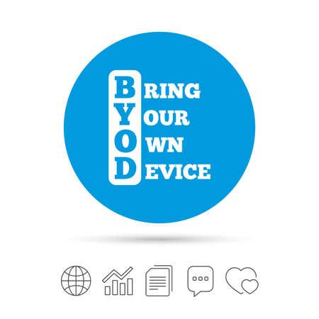 BYOD 記号アイコン。独自のデバイスのシンボルをもたらします。ファイルのコピー、音声バブルとグラフ web アイコンをチャットします。ベクトル
