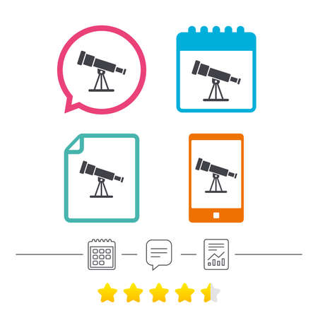Telescope icon. Spyglass tool symbol. Calendar, chat speech bubble and report linear icons. Star vote ranking. Vector