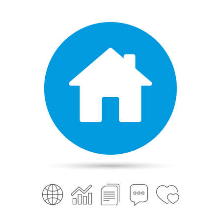 Home sign icon. Main page button. Navigation symbol. Copy files, chat speech bubble and chart web icons. Vector Ilustrace