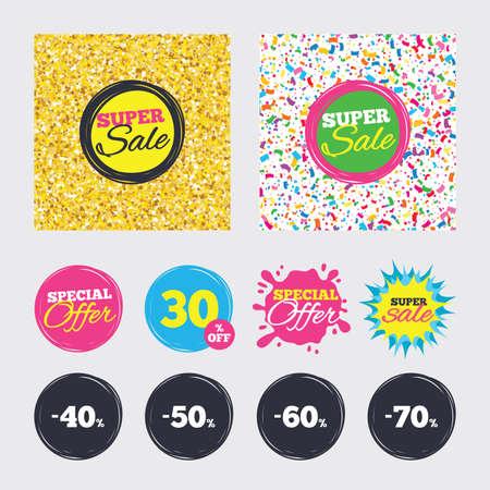 골드 반짝이 색종이 배경. 커버, 포스터 및 전단지 디자인. 판매 할인 아이콘입니다. 특별 제공 가격 징후. 40, 50, 60 및 70 퍼센트 감소 기호. 판매 배너.