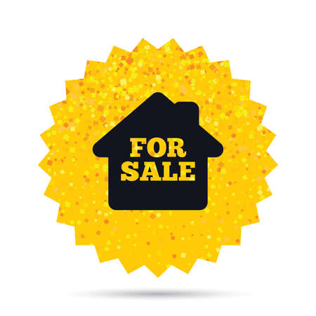 Gold glitter web button. For sale sign icon. Real estate selling. Rich glamour star design. Vector 向量圖像
