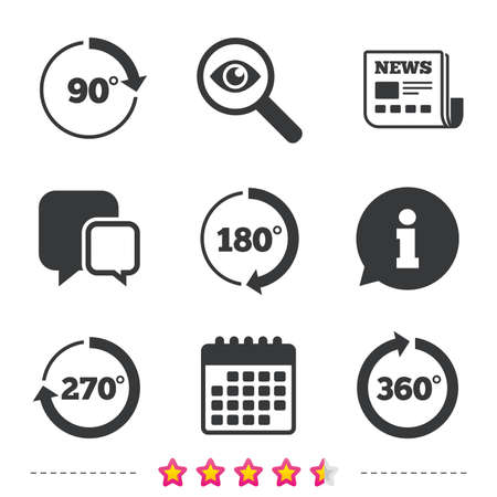 Angle 45-360 degrees circle icons. Geometry math signs symbols. Full complete rotation arrow. Newspaper, information and calendar icons. Investigate magnifier, chat symbol. Vector