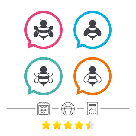 Honey bees icons. Bumblebees symbols. Flying insects with sting signs. Calendar, internet globe and report linear icons. Star vote ranking. Vector Ilustrace