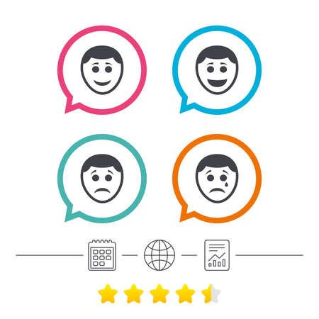 Human smile face icons. Happy, sad, cry signs. Happy smiley chat symbol. Sadness depression and crying signs. Calendar, internet globe and report linear icons. Star vote ranking. Vector
