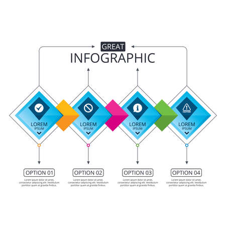 Infographic flowchart template. Business diagram with options. Information icons. Stop prohibition and attention caution signs. Approved check mark symbol. Timeline steps. Vector