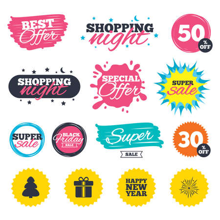Sale shopping banners. Special offer splash. Happy new year icon. Christmas tree and gift box signs. Fireworks explosive symbol. Web badges and stickers. Best offer. Vector Illustration