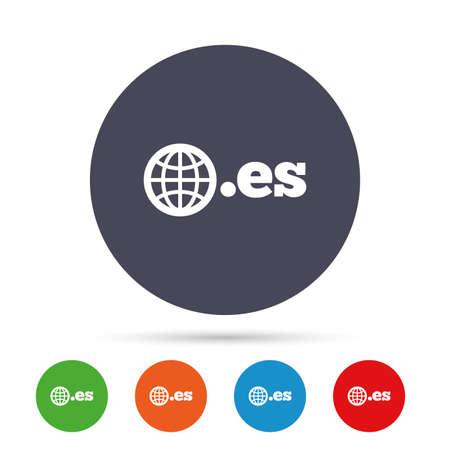 Domain ES sign icon. Top-level internet domeinsymbool met globe. Ronde kleurrijke knoppen met plat pictogrammen. Vector